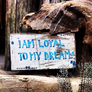 I am loyal to my dreams. A sign I noticed near the compost toilet of the retreat eco-lodge. So poetic.